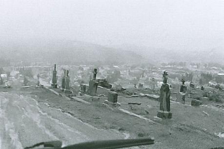 CHUCK FORSMAN, Cemetery rain, Anaconda, Montana black & white photograph