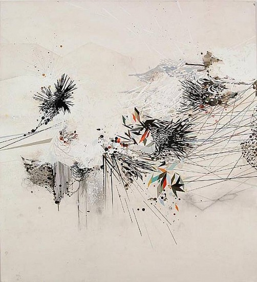 REED DANZIGER, A SECRET DISTANT MEASURMENT oil, pencil, pigment, shellac on paper on panel