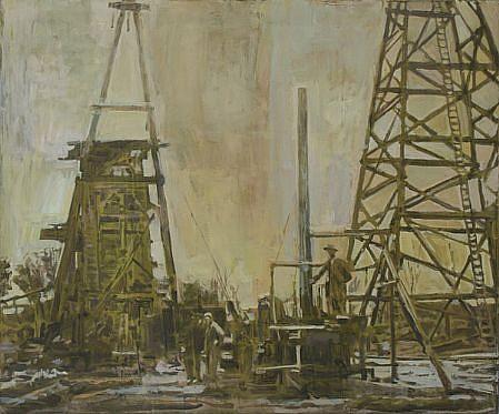 STEPHEN BATURA, derricks acrylic on canvas