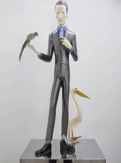 YU FAN, MARCEL DUCHAMP WITH BIRDS 4/6 painted bronze