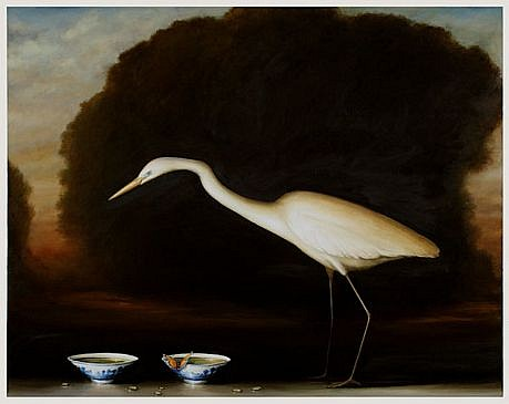 DAVID KROLL, EGRET AND TWO BOWLS oil on linen