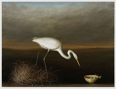 DAVID KROLL, EGRET WITH BOWL oil on linen