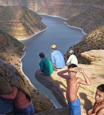 CHUCK FORSMAN, POINT OF VIEW oil on masonite