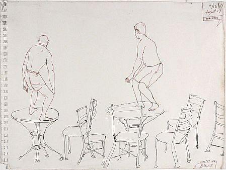 JACK BALAS, HNL O7 #14 TABLETOP SURFERS ink on paper