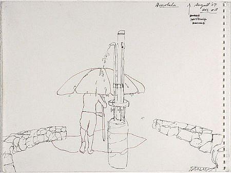 JACK BALAS, HNL O7 #18 SHOWER UMBRELLA ink on paper