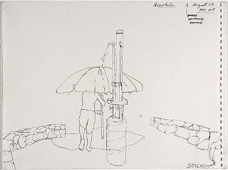 JACK BALAS, HNL O7 #18 SHOWER UMBRELLA ink on paper