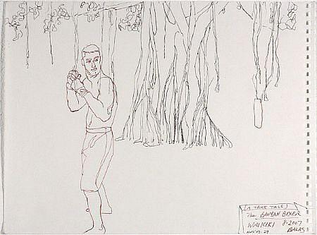 JACK BALAS, HNL O7 #29 BANYON BOXER ink on paper