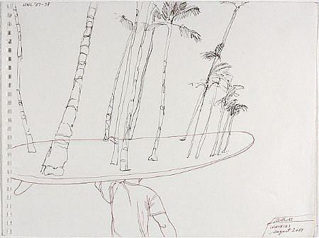 JACK BALAS, HNL O7 #38 SURFBOARD TREES ink on paper
