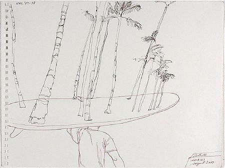 JACK BALAS, HNL O7 #38 SURFBOARD TREES ink on paper