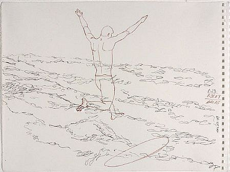 JACK BALAS, HNL O7 #49 JUMP SURFBOARD ink on paper