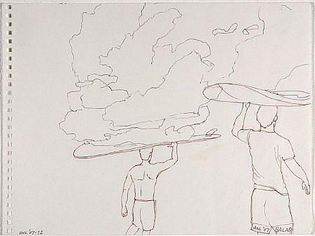 JACK BALAS, HNL O7 #52 SURFBOARD CLOUDS ink on paper