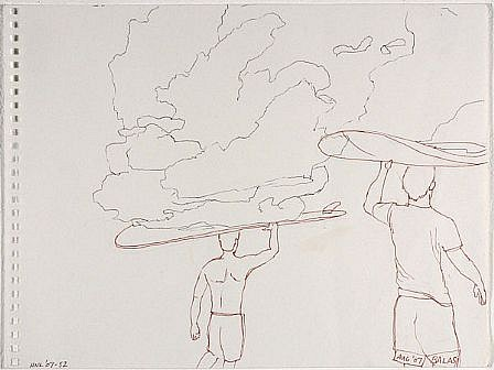 JACK BALAS, HNL O7 #52 SURFBOARD CLOUDS ink on paper