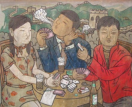 HE JIAN, AT THE FOOT OF THE GREAT WALL Chinese pigment and ink on rice paper
