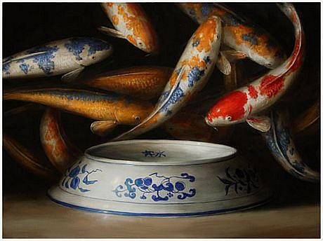 DAVID KROLL, KOI (BLUE AND WHITE BOWL) oil on linen