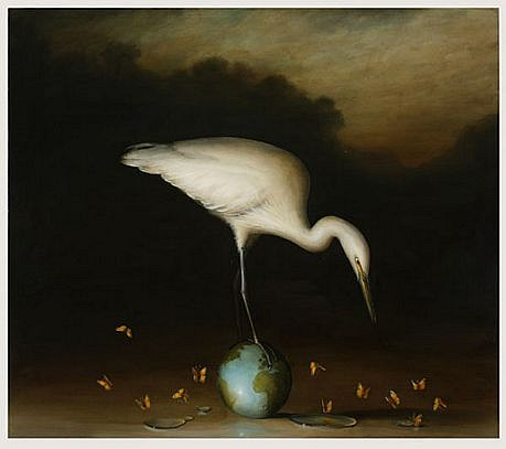 DAVID KROLL, EGRET AND SMALL GLOBE oil on linen