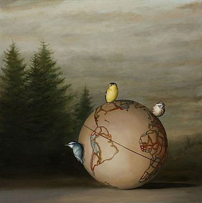 DAVID KROLL, GLOBE AND THREE BIRDS oil on linen