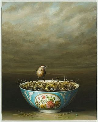 DAVID KROLL, BOWL WITH NESTS oil on linen
