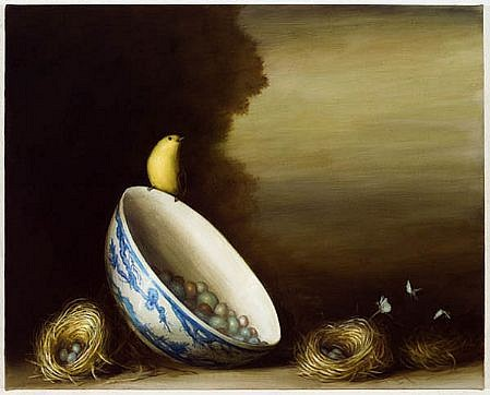 DAVID KROLL, BOWL AND NESTS oil on linen