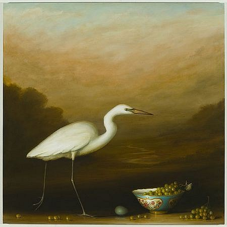 DAVID KROLL, EGRET WITH BOWL OF GRAPES oil on linen