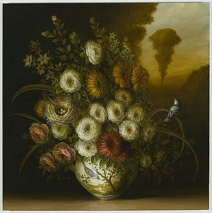 DAVID KROLL, FLOWERS, NEST AND VASE oil on linen