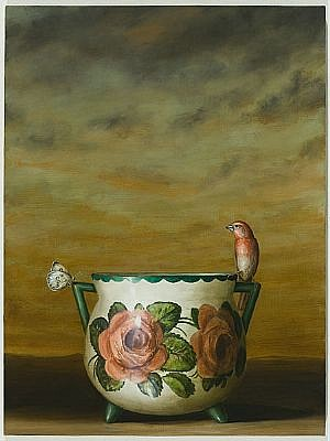 DAVID KROLL, ROSE VASE oil on linen