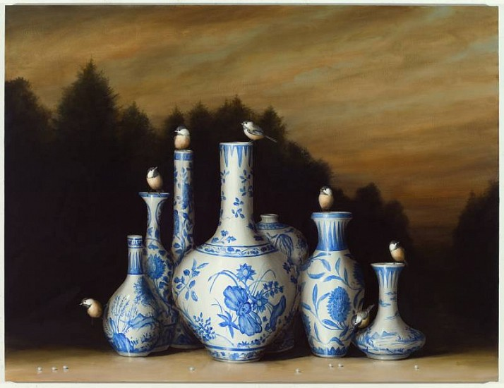 DAVID KROLL, SEVEN VASES oil on linen