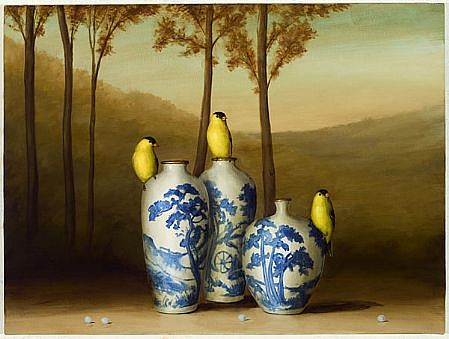DAVID KROLL, THREE FINCHES, THREE VASES oil on linen