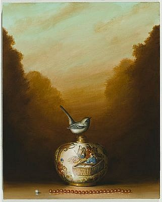 DAVID KROLL, VASE AND NECKLACE oil on linen