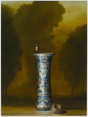 DAVID KROLL, VASE AND NEST oil on linen