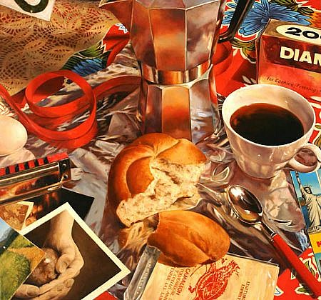 JERRY KUNKEL, COFFEE FIRST oil on canvas