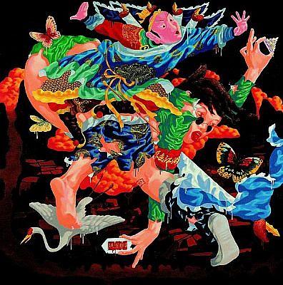LU PENG, CRANE acrylic on canvas