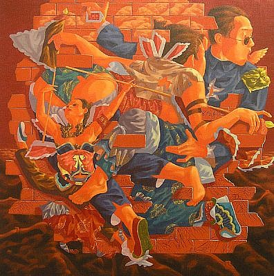 LU PENG, GREAT WALL acrylic on canvas