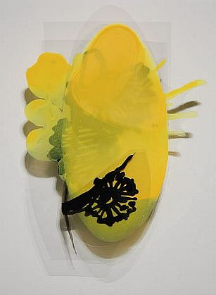KATY STONE, UNTITLED (MONARCH  2) Acrylic on Duralar, mounted on lacquered panel in plexi box