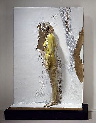 MANUEL NERI, MUJER PEGADA SERIES No. 4 1/4 w/base bronze with oil-based pigments