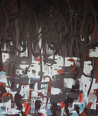 WENDI HARFORD, PRESSURE DROP latex acrylic on canvas