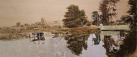STEPHEN BATURA, reflection acrylic, casein, silver leaf on panel