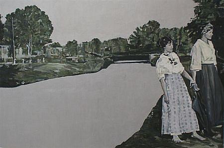 STEPHEN BATURA, riverside casein, acrylic on panel
