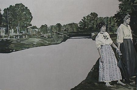 STEPHEN BATURA, riverside casein, acrylic on panel