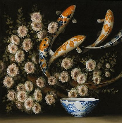 DAVID KROLL, ROSES AND KOI oil on linen