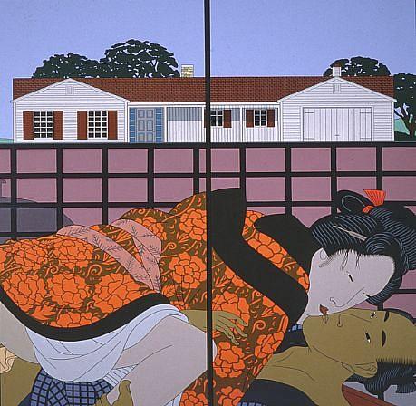 ROGER SHIMOMURA, SUBURBAN LOVE acrylic on canvas
