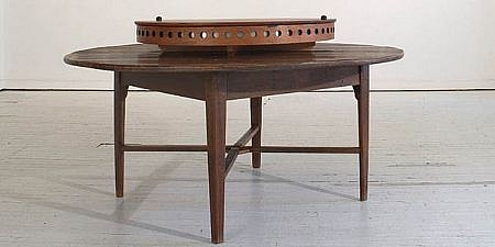 ANN HAMILTON, circular camera obscura table with lazy susan with 12 folding chair