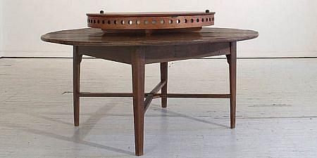 ANN HAMILTON, circular camera obscura table with lazy susan with 12 folding chair