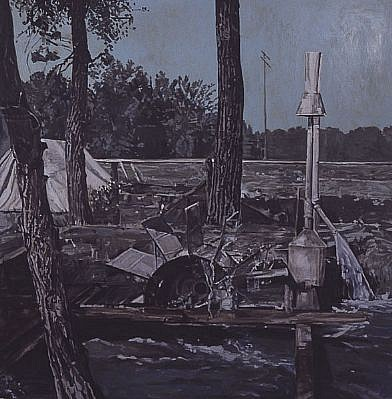 STEPHEN BATURA, the lodger casein/acrylic on birch panel