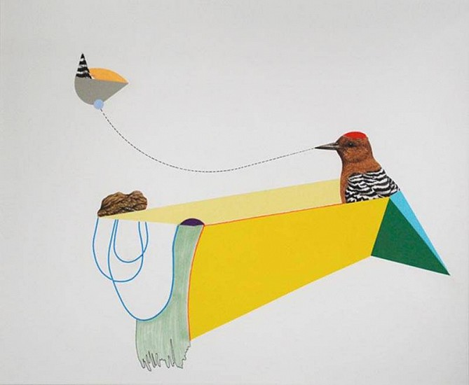 TYLER BEARD, THE WOODPECKER, A ROCK AND THE COLOR OF HER IMAGINATION Collage and drawing on paper