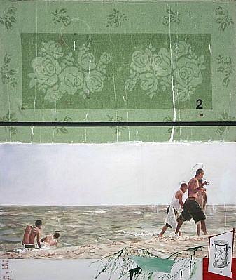 JACK BALAS, THE NATURE OF SAND oil & enamel on canvas w/bath towel