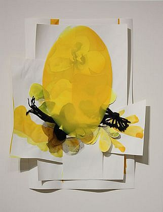 KATY STONE, EOSTER Acrylic on Duralar, and paper mounted on lacquered panel in plexi box