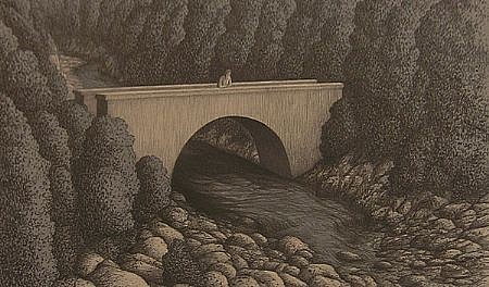 BRUCE LOWNEY, WATER UNDER THE BRIDGE 12/22 color lithograph