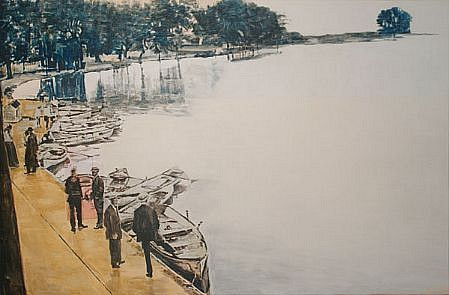 STEPHEN BATURA, white city acrylic and casein on panel