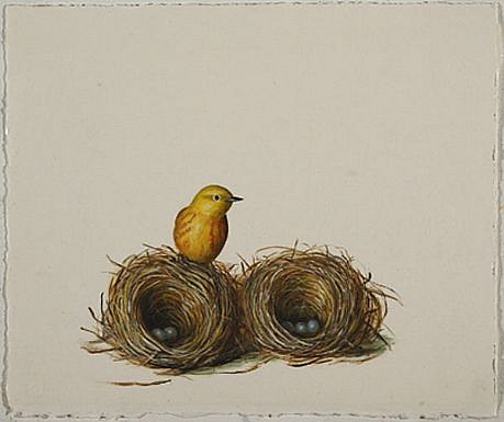DAVID KROLL, UNTITLED (YELLOW BIRD) oil on paper