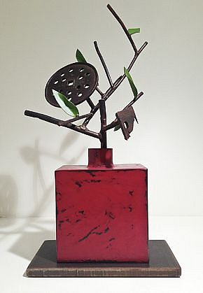 DAVID KIMBALL ANDERSON, GRID AND RED BOTTLE painted steel and bronze